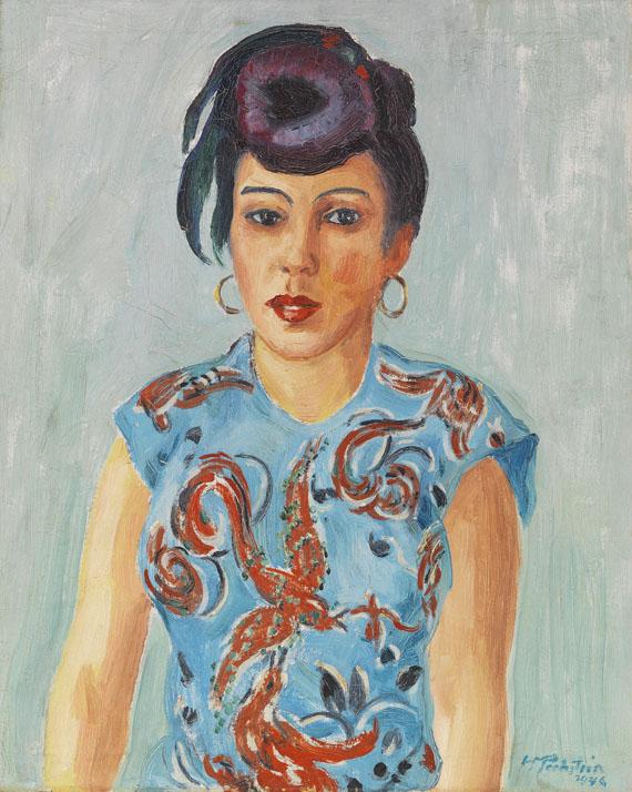 Hermann Max Pechstein - Bildnis Freda Wermel in blauer Bluse