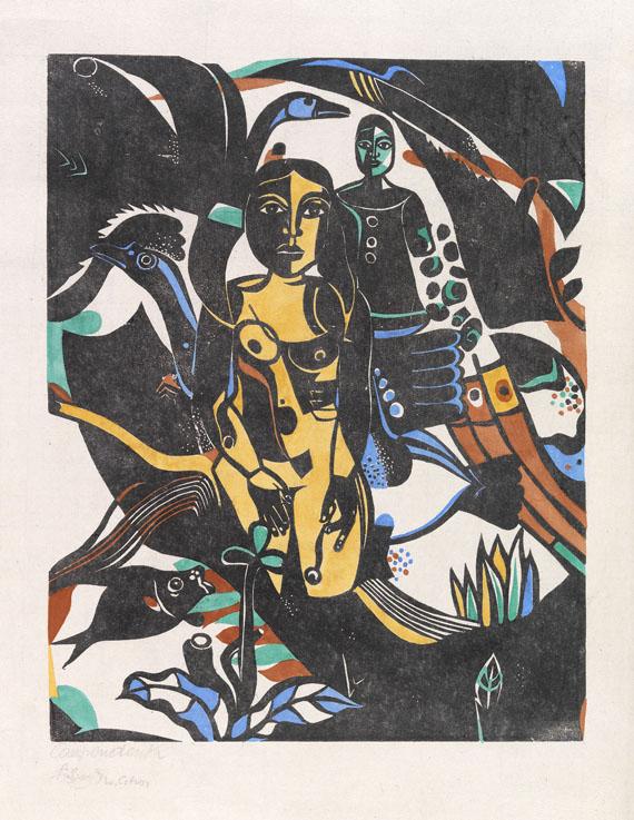 Heinrich Campendonk - Begebenheit (Mädchen mit Fisch und Vögeln)