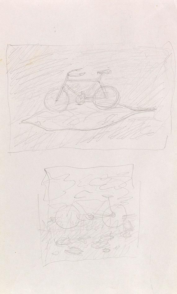 René Magritte - Ohne Titel (Fahrrad auf einem Blatt)