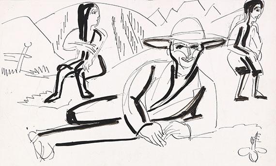 Ernst Ludwig Kirchner - Liegender Bauer