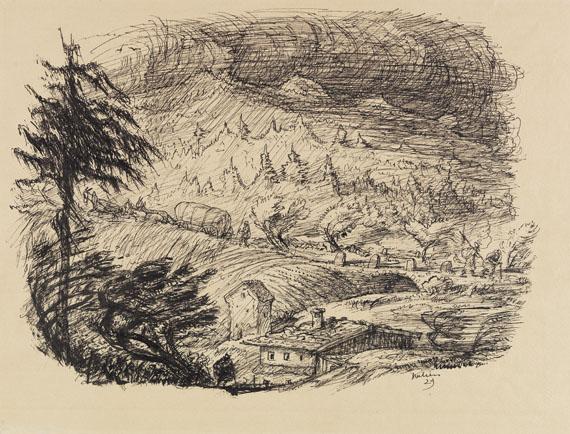Alfred Kubin - Sturm über Schardenberg (Landschaft im Regen)