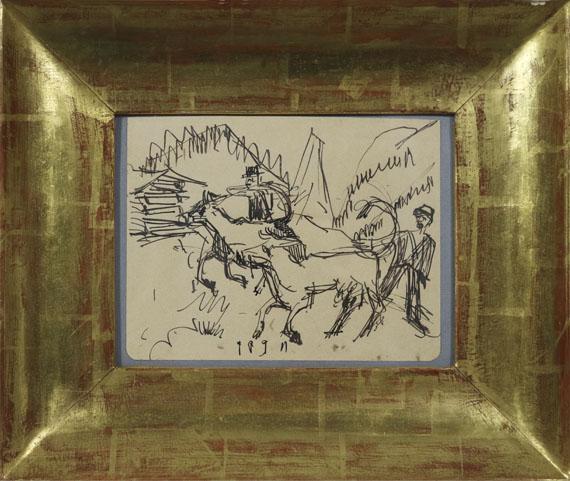 Ernst Ludwig Kirchner - Hirten und Kühe auf der Stafelalp - Rahmenbild