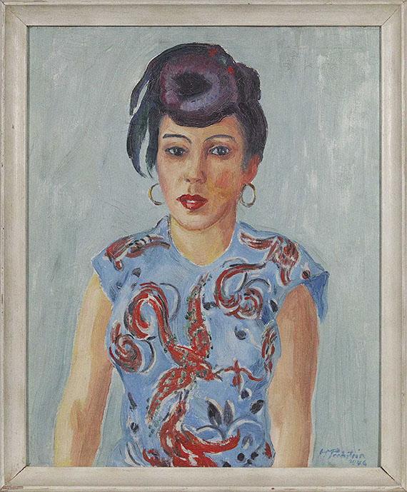 Hermann Max Pechstein - Bildnis Freda Wermel in blauer Bluse - Rahmenbild