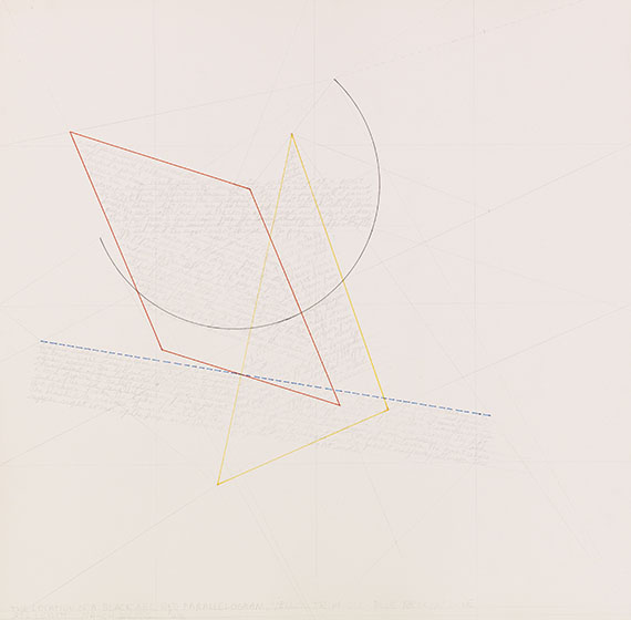 Sol LeWitt - The location of a black arc, red parallelogram....