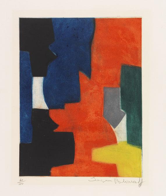 Serge Poliakoff - Composition rouge, bleu, gris, vert noir