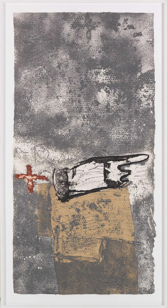 Antoni Tàpies - Ma i creu sobre gris - Rahmenbild