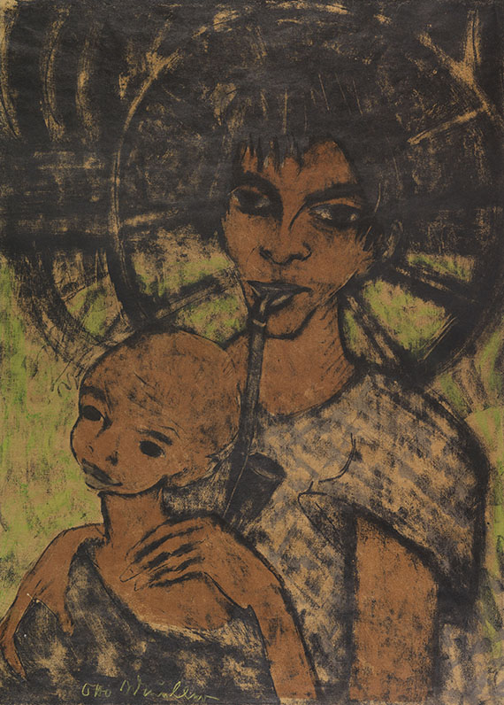 Otto Mueller - Zigeunermadonna (Zigeunerin mit Kind vor Wagenrad)