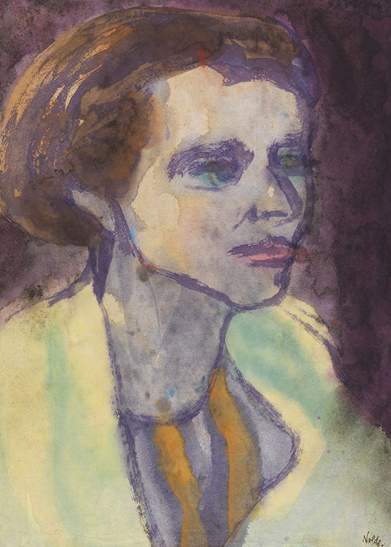 Emil Nolde - Portrait einer brünetten Frau