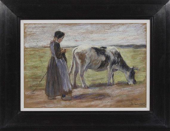 Max Liebermann - Junge Kuhhirtin (Auf der Weide / Mädchen mit Kuh) - Rahmenbild