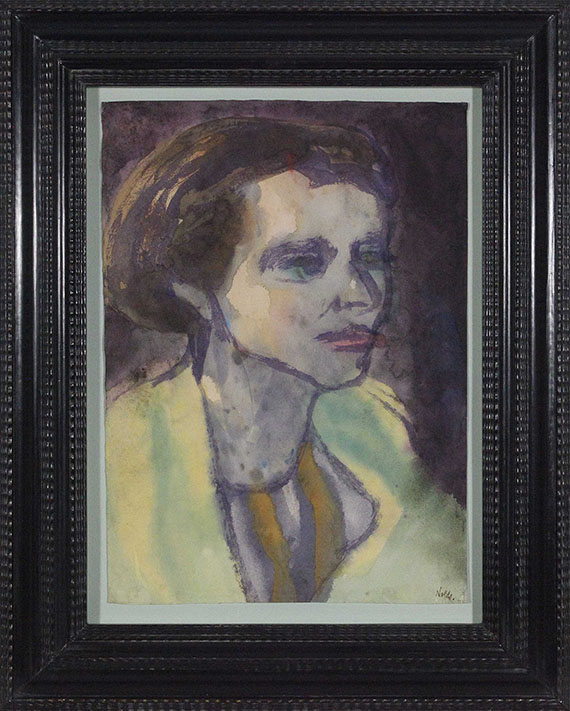 Emil Nolde - Portrait einer brünetten Frau - Rahmenbild