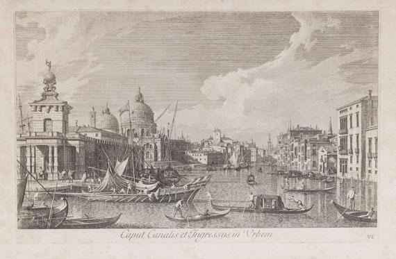 Antonio Visentini - 5 Bll. Veduten nach Canaletto. - Dabei: 1 Guckkastenblatt (Chereau)