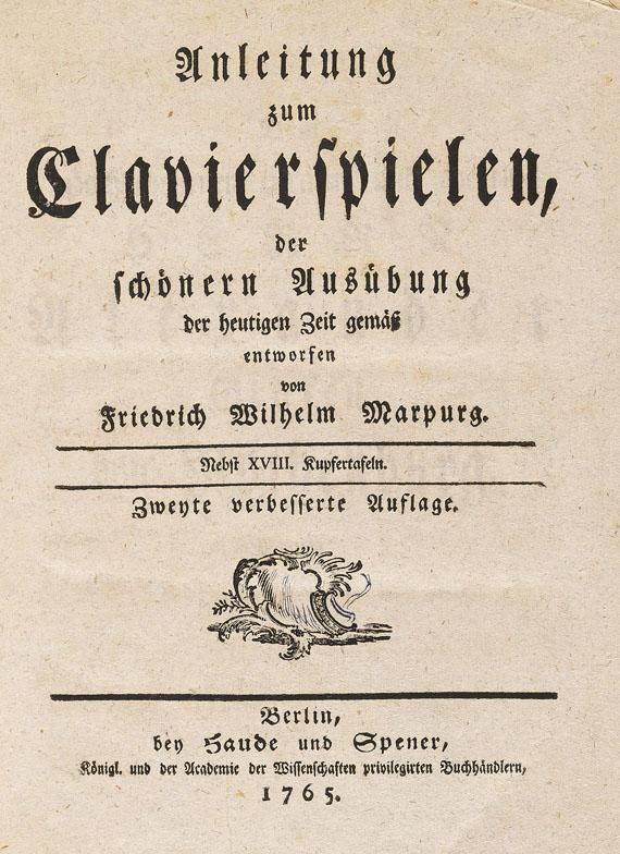 Friedrich Wilhelm Marpurg - Anleitung zum Clavierspielen