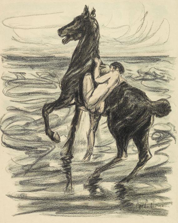 Max Liebermann - Nackter Reiter am Strande (aquarelliert). Dabei: Mappe mit 8 Bll. Zeichnungen/Grafik