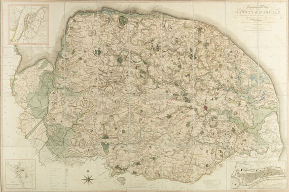 Großbritannien - Map of the county of Norfolk (Wandkarte)