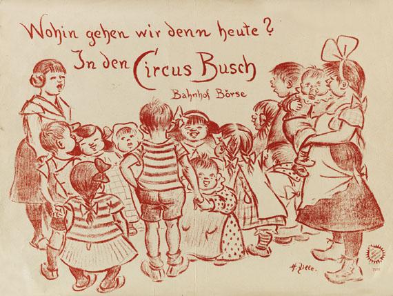 """Heinrich Zille - Kindergruppe (Plakat für den Zirkus Busch). Dabei: Radierung """"Die Nacht"""""""