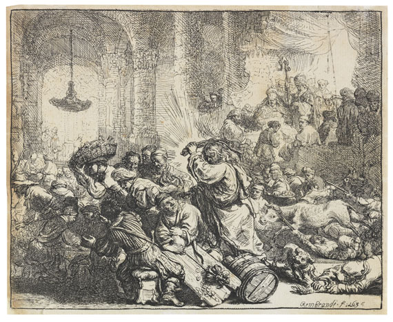 Harmensz. Rembrandt van Rijn - Christus, die Händler aus dem Tempel treibend