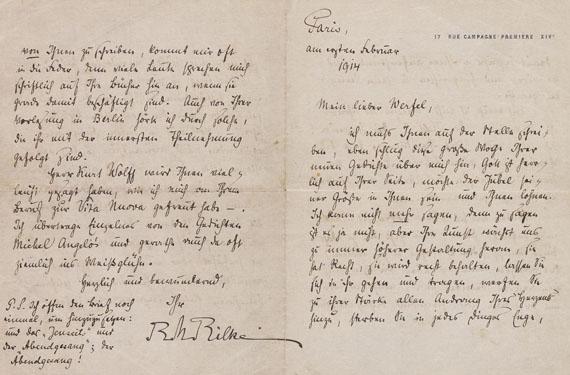 Rainer Maria Rilke - Eigenhändiger Brief an Werfel. - 1 Beigabe: F. Werfel, Einander. Widmungsexemplar