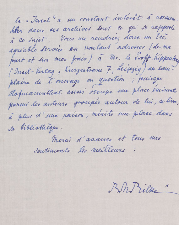 Rainer Maria Rilke - Eigenhändiger Brief an Edwin Frankfurter