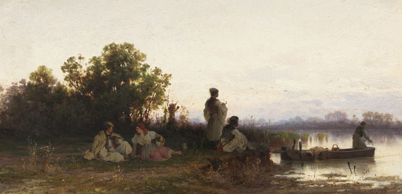 Pál (Paul) Böhm - Ungarische Fischer am Flussufer