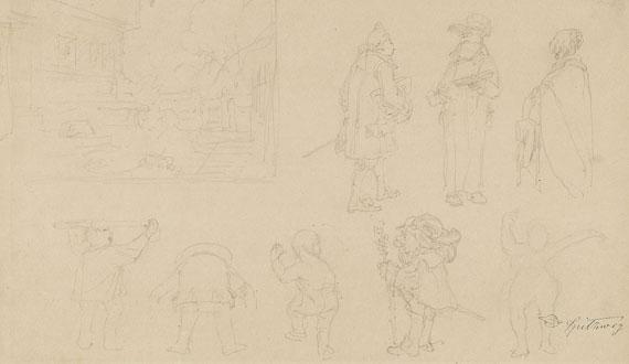 Carl Spitzweg - 2 Bll.: Ganzfiguriges Porträt einer jungen Dame mit Stola. Skizzenblatt mit 8 Figurenskizzen, darunter Gnome, sowie Gartenkomposition mit Tor, Haus, Hund und Bäumen