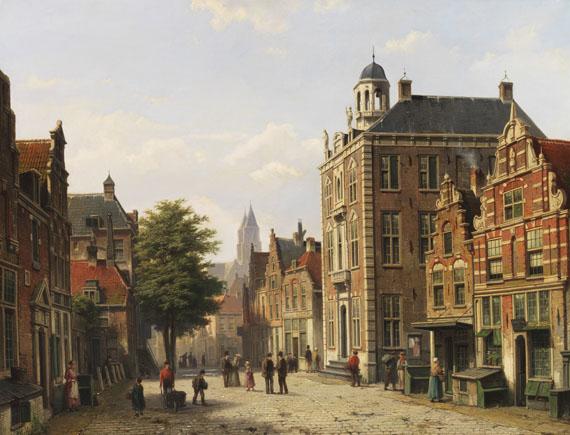 Willem Koekkoek - Holländische Stadtansicht im Sommer