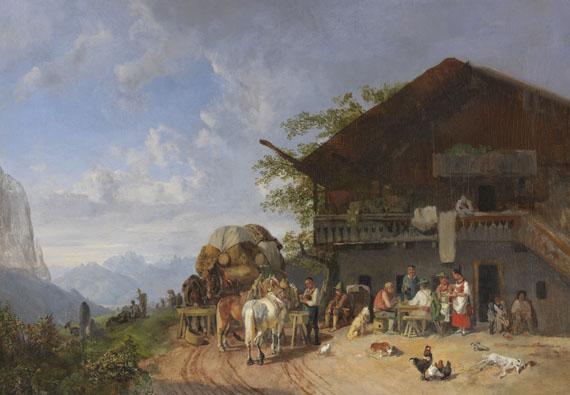 Heinrich Bürkel - Rast vor einem Gasthof in den Bergen