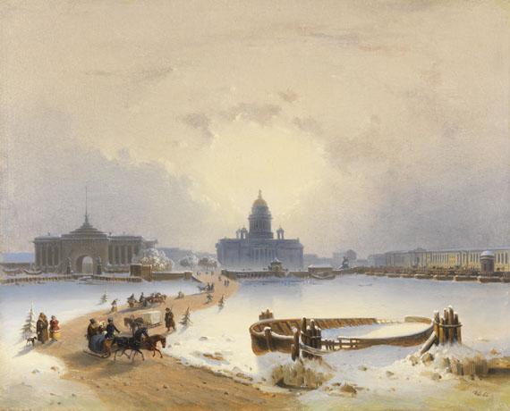 Joseph Andreas Weiß - St. Petersburg: Schlittenfahrt über die Neva mit Blick auf Admiralität, Isaakskathedrale, ehernen Reiter, Senat und Synode