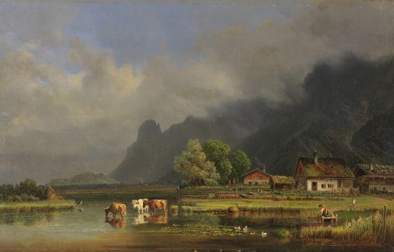 Heinrich Bürkel - Der Kochelsee mit den Häusern von Schlehdorf