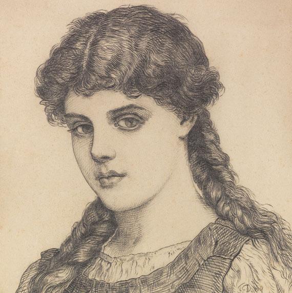 Franz von Defregger - Porträt eines Mädchens mit Zöpfen