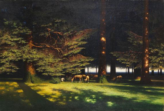Paul Wilhelm Keller-Reutlingen - Grasende Schafe auf der Waldlichtung