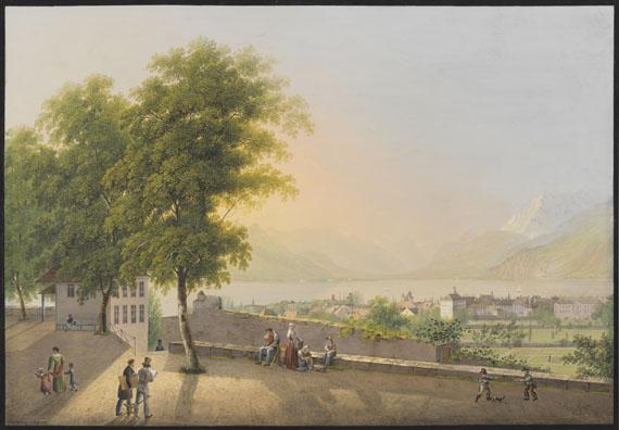 Johann Heinrich Bleuler d. J. - Aussicht von Vevey über den Genfer See, aufgenommen von der Terrasse bei St. Martin