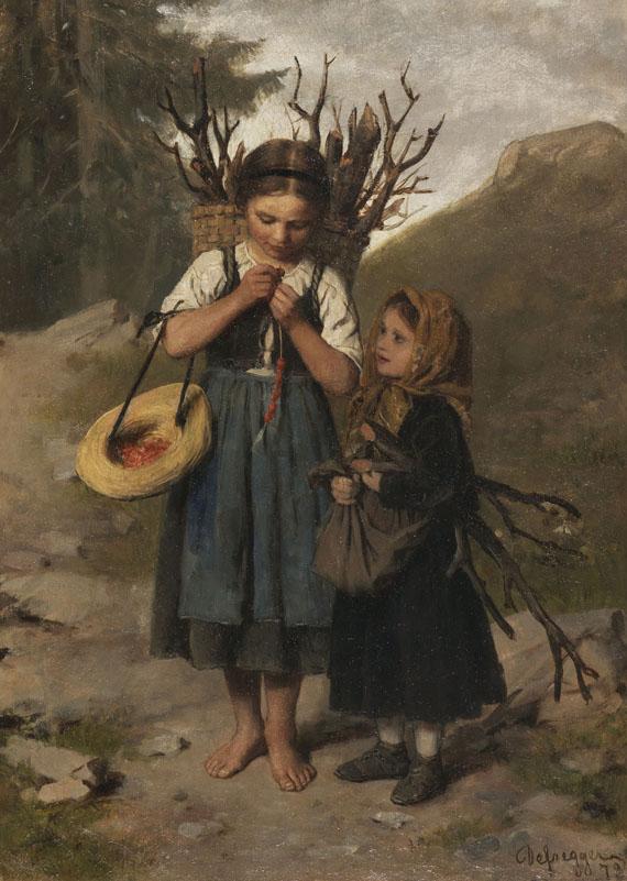 Franz von Defregger - Die kleinen Reisigsammlerinnen