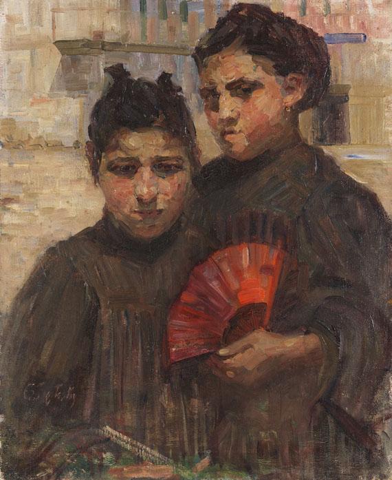 Gertraud Rostosky - Porträt zweier Mädchen mit kirschrotem Fächer