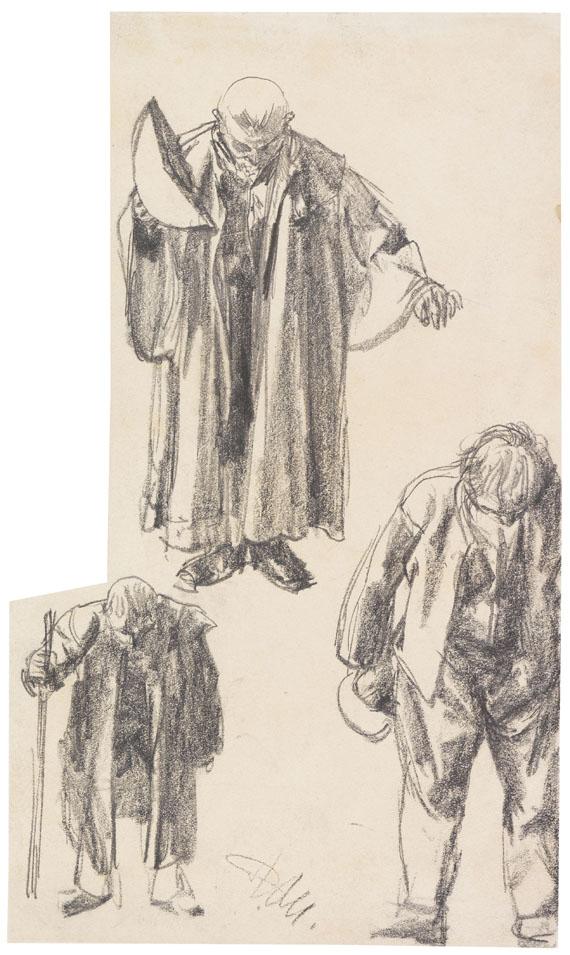 """Adolph von Menzel - Drei Figurenstudien (""""Der Zerbrochene Krug"""")"""