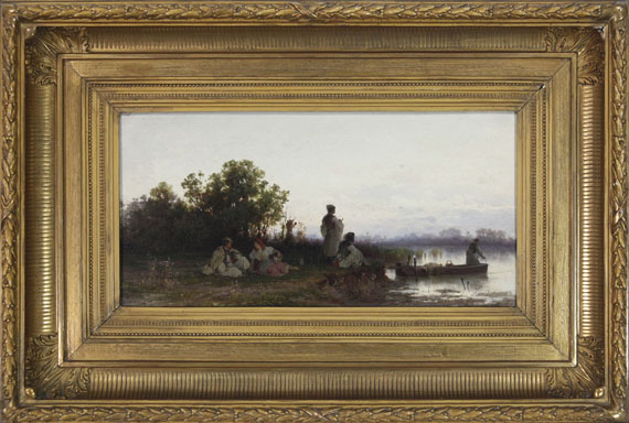 Pál (Paul) Böhm - Ungarische Fischer am Flussufer - Rahmenbild