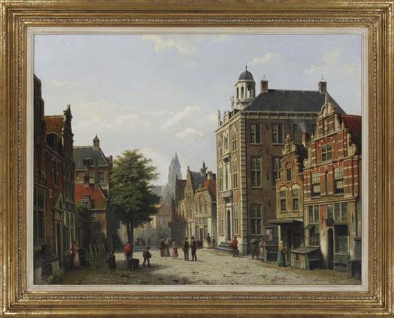 Willem Koekkoek - Holländische Stadtansicht im Sommer - Rahmenbild