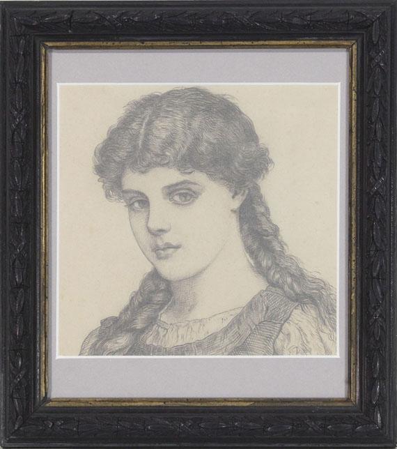 Franz von Defregger - Porträt eines Mädchens mit Zöpfen - Rahmenbild