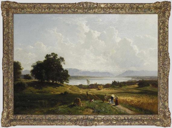 Adolf Heinrich Lier - Der Starnberger See von Pöcking aus gesehen - Rahmenbild