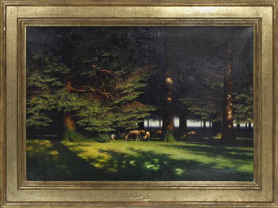 Paul Wilhelm Keller-Reutlingen - Grasende Schafe auf der Waldlichtung - Rahmenbild