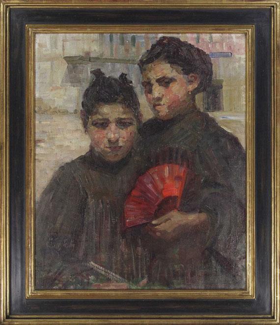Gertraud Rostosky - Porträt zweier Mädchen mit kirschrotem Fächer - Rahmenbild