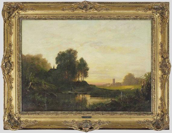 August Seidel - Abendlandschaft - Rahmenbild