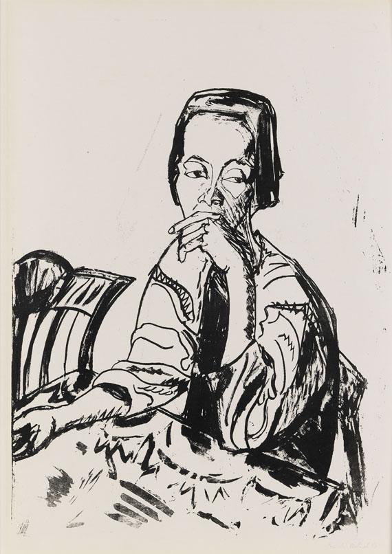 Erich Heckel - Sitzende Frau am Tisch