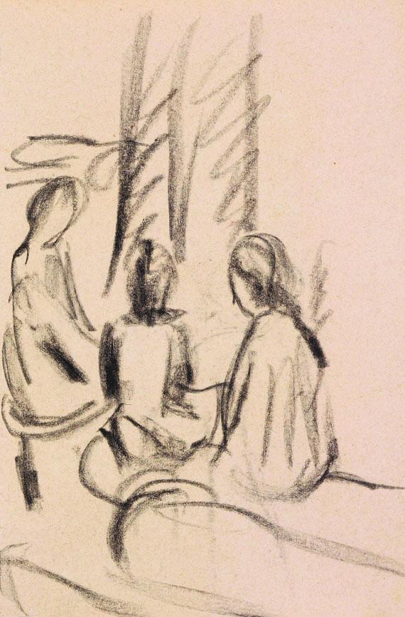 August Macke - Studie sitzender Mädchen (verso: Krankenhaus in Oberhofen)
