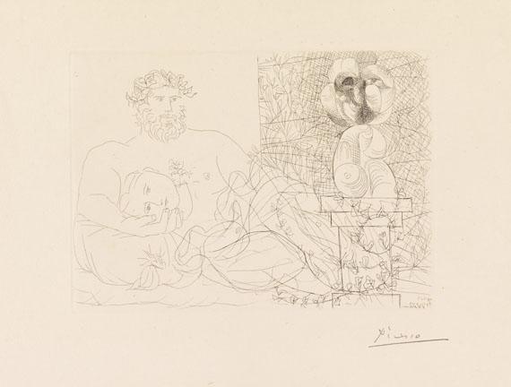 Pablo Picasso - Sculpteur et son modèle avec un buste sur une colonne