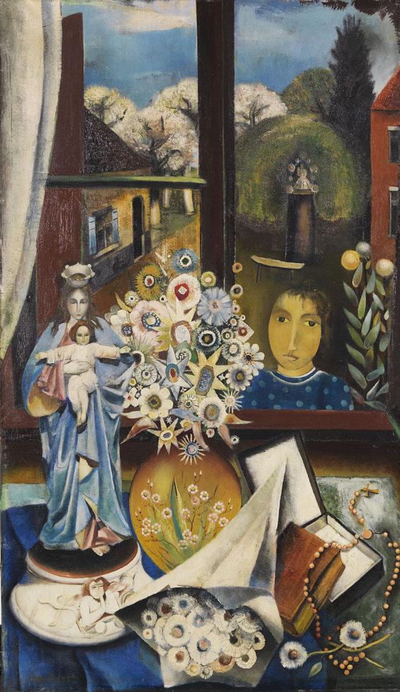 Edith Campendonk-van Leckwyck - Stillleben mit Madonna und Blumenvase
