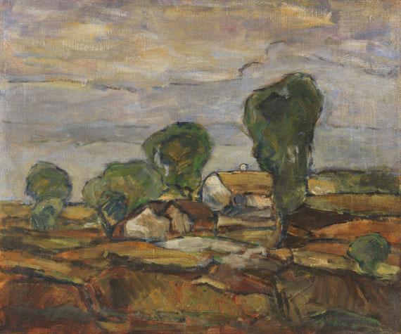 Adolf Hölzel - Landschaft mit Häusern und Bäumen