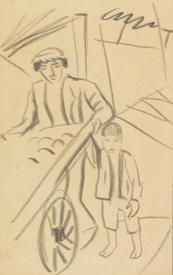 August Macke - Mann mit Karre und Kind