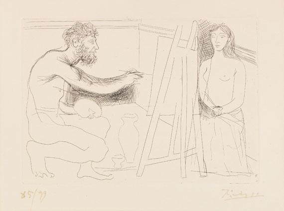 Pablo Picasso - Peintre devant son chevalet avec un modèle aux longs cheveux (Aus: Balzac. Le Chef-d'œuvre inconnu)