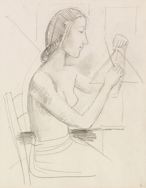 Karl Hofer - Mädchen mit Triangel (sitzend)
