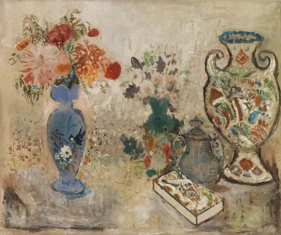 Max Peiffer Watenphul - Stillleben mit Blumenvasen und Pralinenschachtel